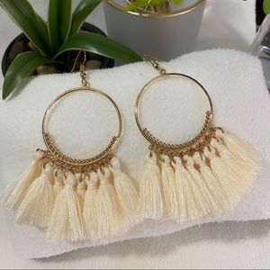 NEW Gold Creme Tassel Fringe Circular Earrings